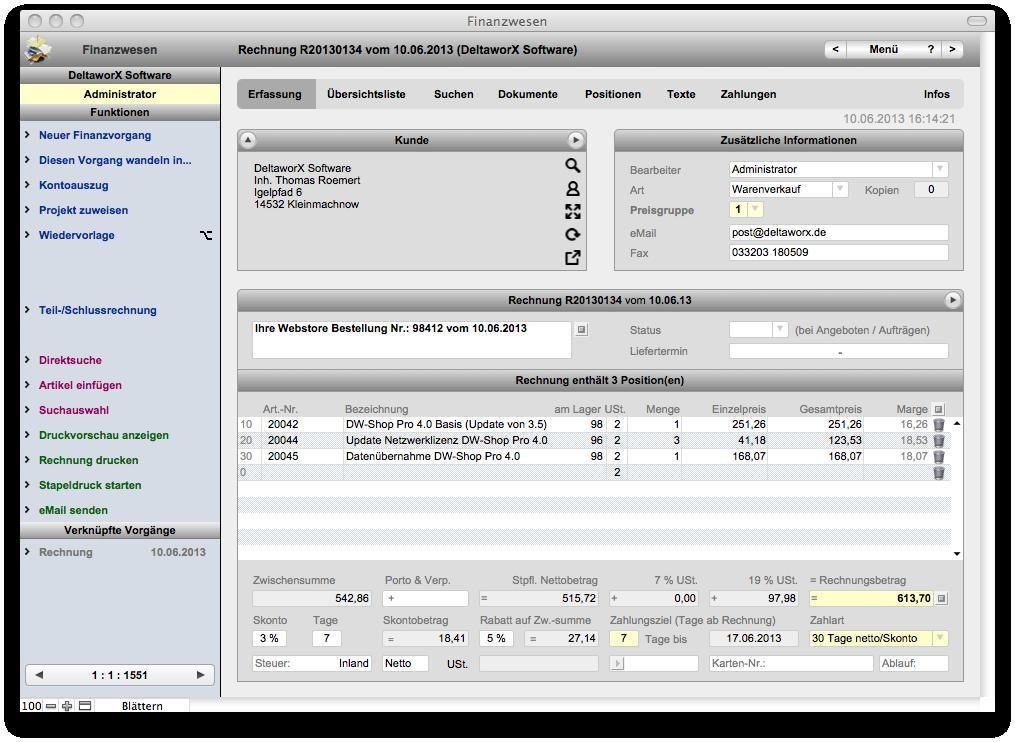 Dw Shop Pro Funktionen Warenwirtschaft Für Mac Und Windows