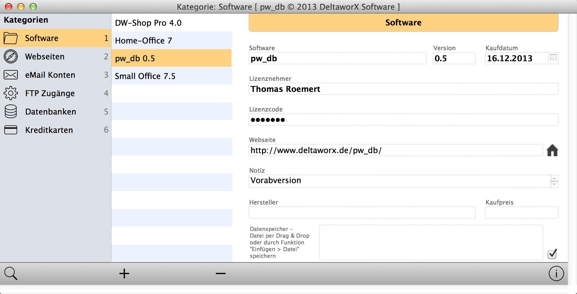 Softwarelizenzen, Zugangsdaten für Webseiten, eMail Accounts, FTP-Konten – überall benötigt man Kennwörter und Anmeldedaten. Wer auf Nummer Sicher gehen möchte benutzt überall andere Zugangsdaten – die man sich dann allerdings kaum alle merken kann. An dieser Stelle setzt pw_db (kurz für Password Database) an: hier können Sie an einer Stelle alle Ihre Daten speichern und jederzeit wieder abrufen. pw_db 0.6 ist weiterhin eine Vorversion, die wir zu Testzwecken bereitstellen. Bitte beachten Sie, das die Software derzeit als Vorversion noch ohne Anleitung und nur in der Version ohne FileMaker Runtime mit aktiver Dateiverschlüsselung zur Verfügung steht. Lizenzdaten für einen weitergehenden Test können bei uns per eMail angefordert werden. Wir würden uns über Anregungen und Verbesserungsvorschläge sehr freuen. pw_db 0.6 basiert auf Filemaker Pro 13 und setzt mindestens MacOS X 10.7 voraus. Eine Version für Windows erscheint in Kürze. pw_db kann auch mit FileMaker Go 13 auf einem iPad verwendet werden. FileMaker Go 13 ist kostenlos im App Store erhältlich und wird zur Nutzung auf dem iPhone/iPad vorausgesetzt. Neu in Version 0.6 Anpassungen für die Benutzung mit einem iPhone (angepasste Bildschirmgröße) Version für FileMaker Pro 13 / Go 13 mit aktivierter Dateiverschlüsselung (AES-256 Verschlüsselung) Download