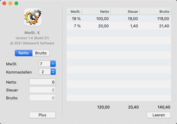 MwSt.-Satz auswählen, Betrag eingeben und schon sind Netto-, Steuer- und Bruttobetrag berechnet. Wenn Sie mehrere Werte addieren möchten, können Sie diese zur Liste hinzufügen, MwSt. X summiert dann die Netto-, Steuer- und Bruttowerte. MwSt. X ist derzeit in Deutsch, Englisch, Italienisch und Französisch im Mac App Store verfügbar. Es liegt als Universal Binary vor, ist also bereits für die neuen Apple Silicon Prozessoren optimiert. Exklusiv und kostenlos im Mac App Store erhältlich.
